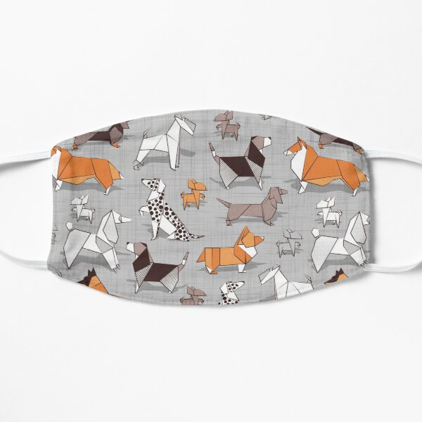 Origami doggie friends // grey linen texture background Mask