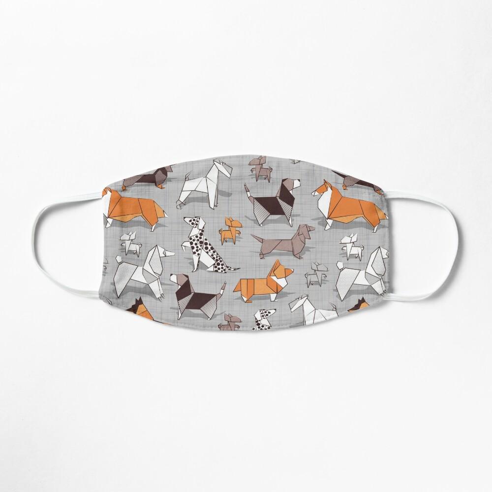 Origami doggie friends // grey linen texture background Mask