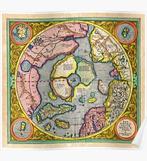 1606 Mercator Hondius Map of the Arctic First Map of the North Pole Geographicus NorthPole mercator 1606 Poster