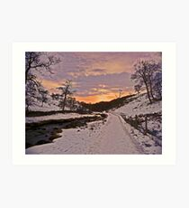 New Year Eve Sunset at Clapham Ghyll Art Print