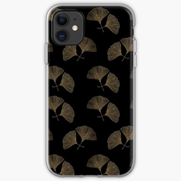 Ginkgo on black. Hand drawn. iPhone Soft Case