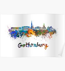 Gothenburg skyline in watercolor Poster
