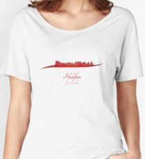 Halifax skyline in red Women's Relaxed Fit T-Shirt
