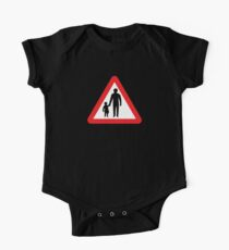 Pedestrians In Road Ahead, Sign, UK  One Piece - Short Sleeve