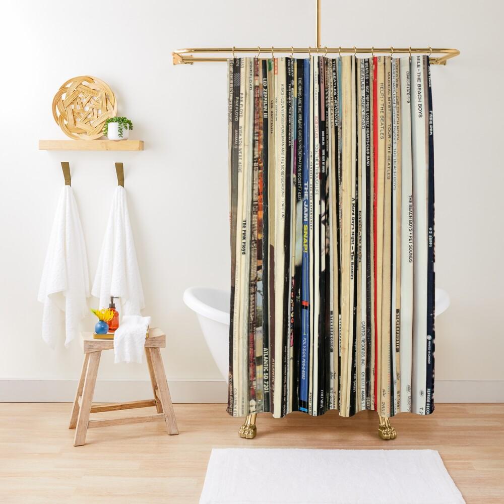 Classic Rock Vinyl Records  Shower Curtain