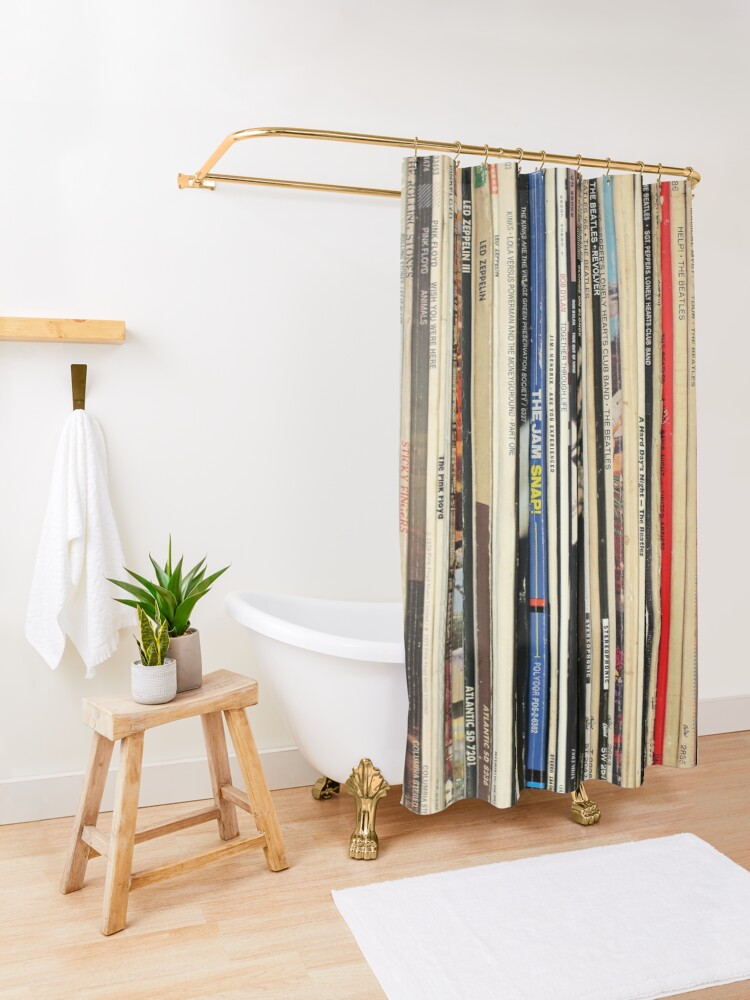 Alternate view of Classic Rock Vinyl Records  Shower Curtain