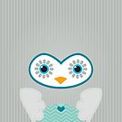 IPhone :: cute owl face - silver grey by Kat Massard