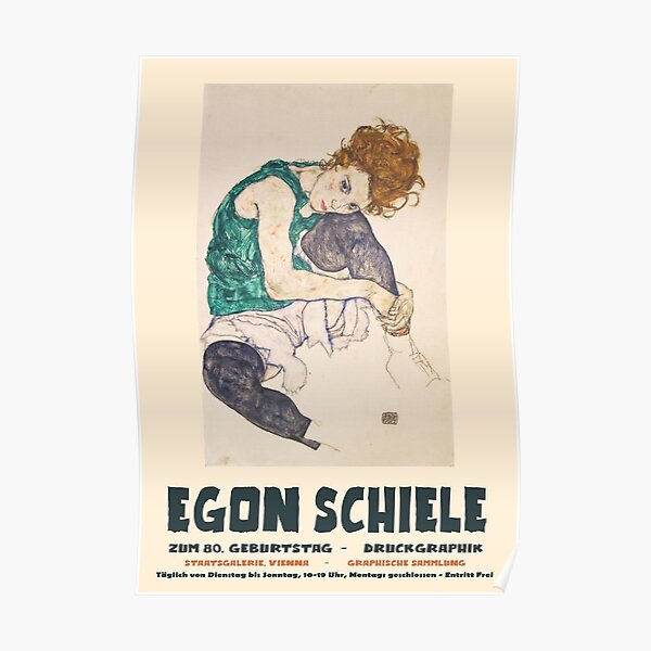 Egon Schiele - Exhibition Art Poster - Seated Woman with Bent Knee Poster