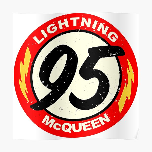 Lightning McQueen symbol number sticker, shirt, mask, ... Poster