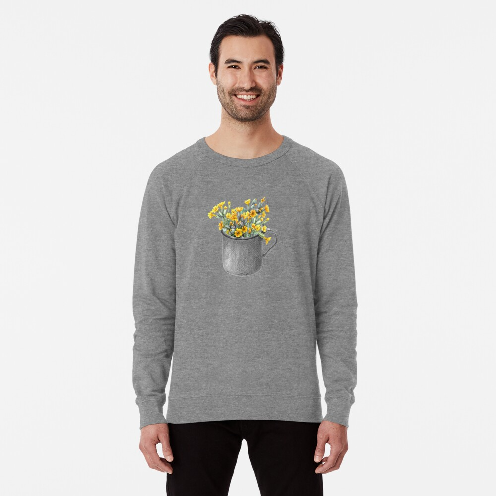 Mug with primulas Lightweight Sweatshirt