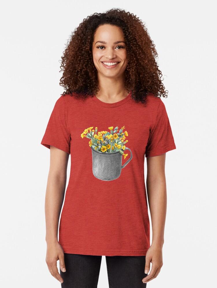 Alternate view of Mug with primulas Tri-blend T-Shirt