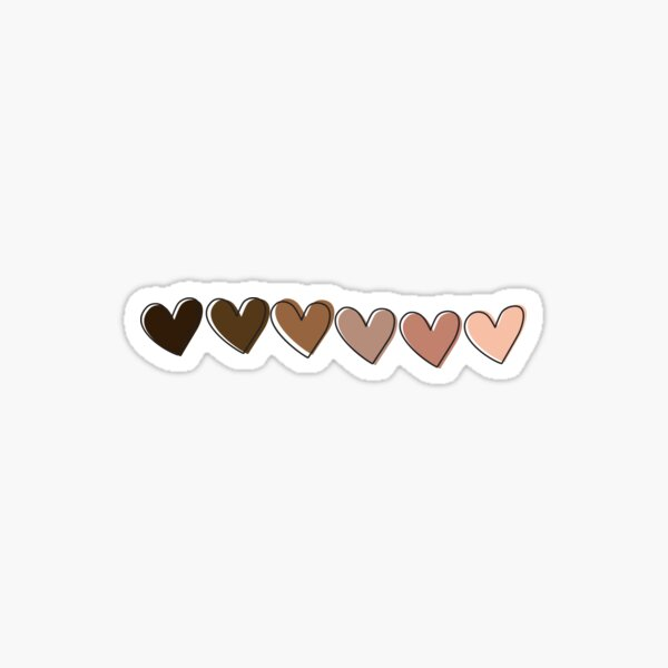 Cute Black&Brown Hearts, Black Owned Sticker