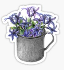 Hyacinth flowers in a mug Sticker