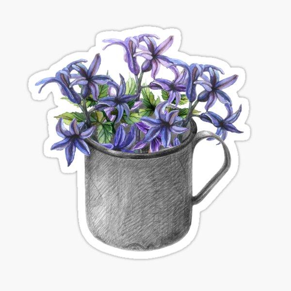 Hyacinth flowers in a mug Sticker