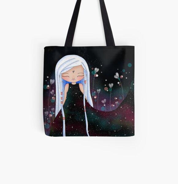 Fille à la robe univers - fond noir Tote bag doublé