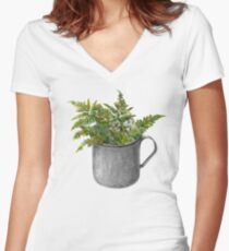 Mug with fern leaves Women's Fitted V-Neck T-Shirt