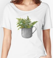 Mug with fern leaves Women's Relaxed Fit T-Shirt
