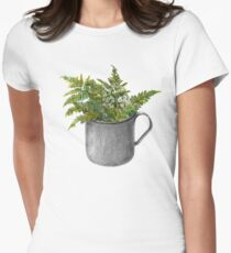 Mug with fern leaves Womens Fitted T-Shirt