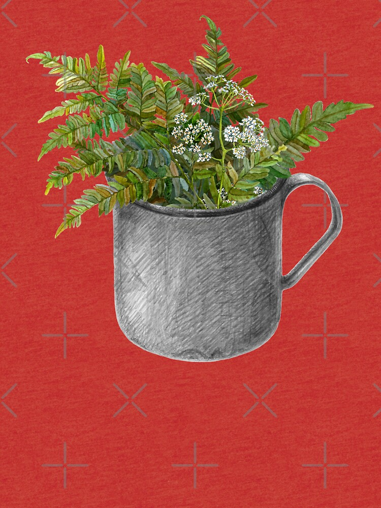 Mug with fern leaves by stasia-ch