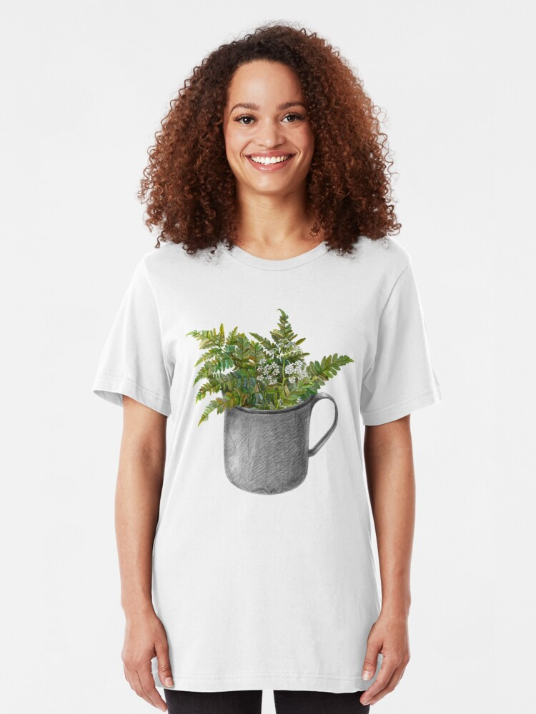 Alternate view of Mug with fern leaves Slim Fit T-Shirt