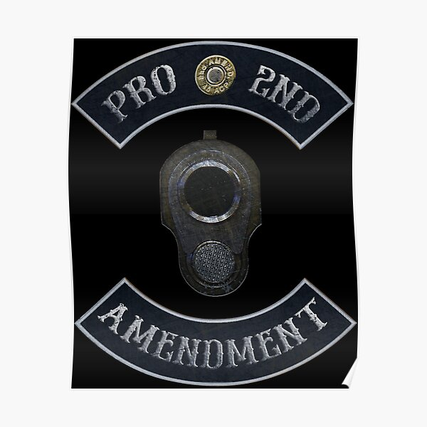 Pro 2nd Amendment in Rockers with M1911 Colt 45 Muzzle Black Background Poster