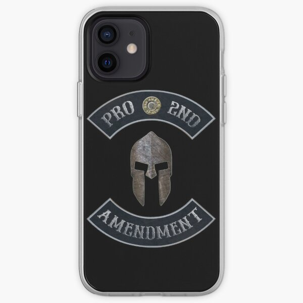 Pro 2nd Amendment in Rockers with Spartan Helmet with Black Background iPhone Soft Case