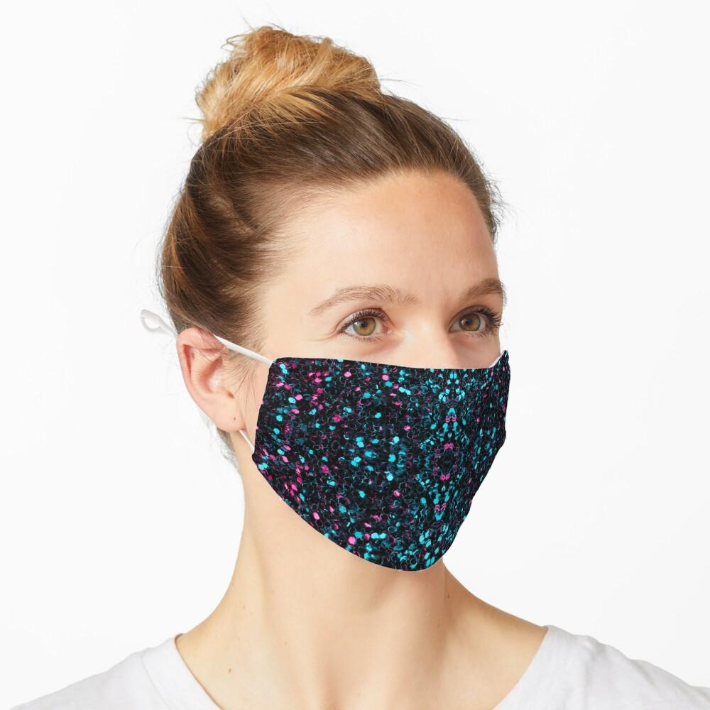 Sparkly pink blue mosaic glitter sparkles Mandala Mask