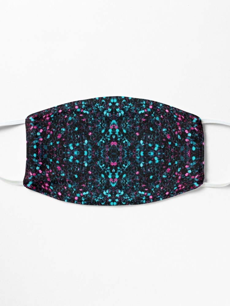 Alternate view of Sparkly pink blue mosaic glitter sparkles Mandala Mask