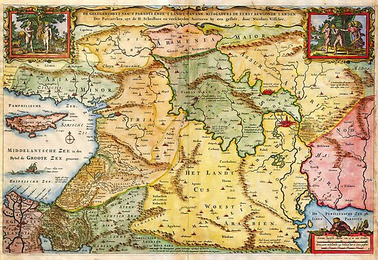 1657 Visscher Map of the Holy Land or the Earthly Paradise Geographicus Gelengentheyt visscher 1657 by MotionAge Media