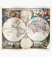 1685 Bormeester Map of the World Geographicus TerrarumOrbis bormeester 1685 Poster