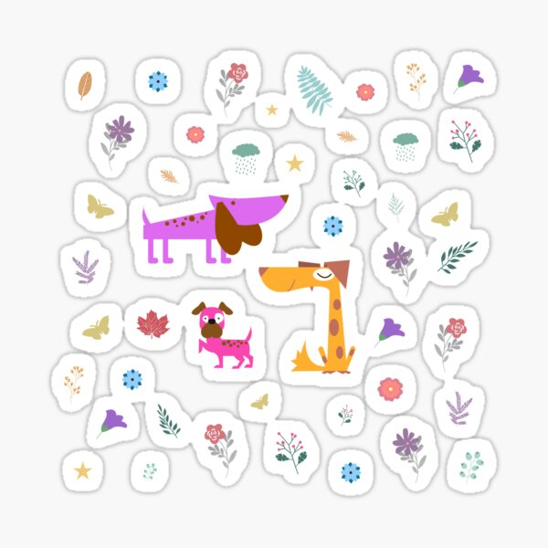 Dogs Are Awesome White Floral Pattern Sticker
