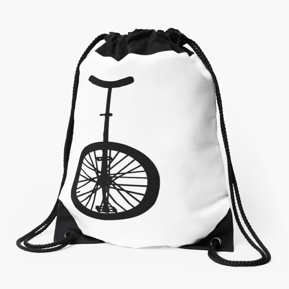 Unicycle Silhouette Drawstring Bag