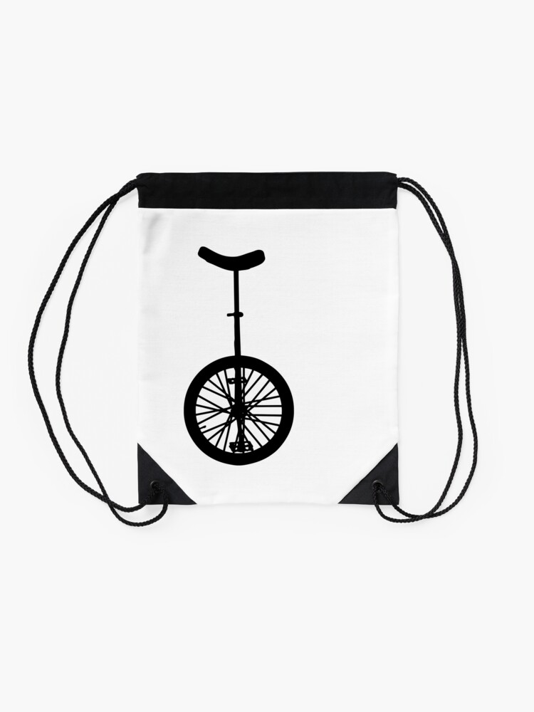 Alternate view of Unicycle Silhouette Drawstring Bag