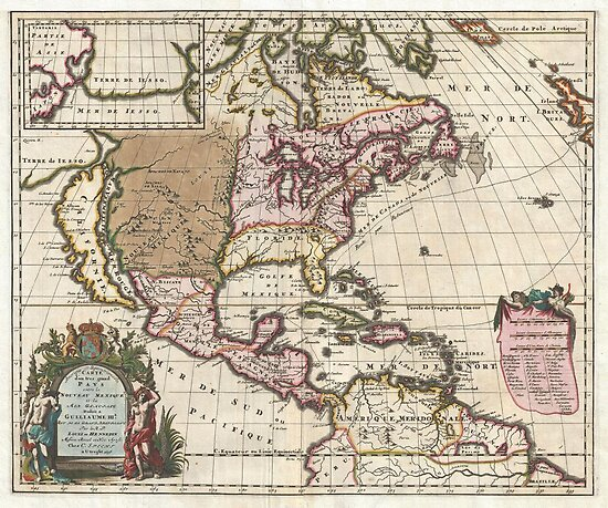 1698 Louis Hennepin Map of North America Geographicus NorthAmerica hennepin 1698 by MotionAge Media
