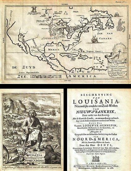 1688 Hennepin First Book and Map of North America (first printed map to name Louisiana) Geographicus NieuwVrankryk hennepin 1688 by MotionAge Media