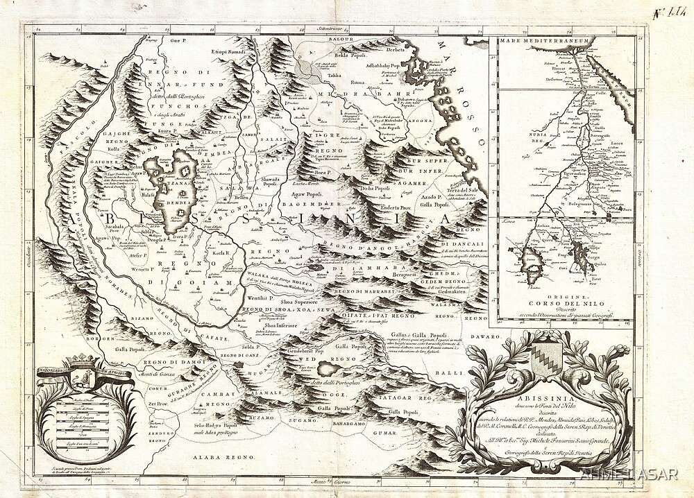 1690 Coronelli Map of Ethiopia Abyssinia and the Source of the Blue Nile Geographicus Abissinia coronelli 1690 by MotionAge Media