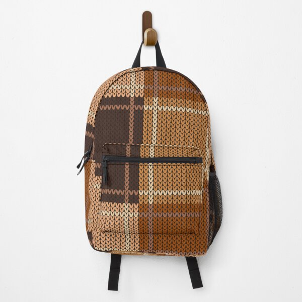 Natural Brown Tan Auburn Knit Style Design for Apparel and Accessories Backpack