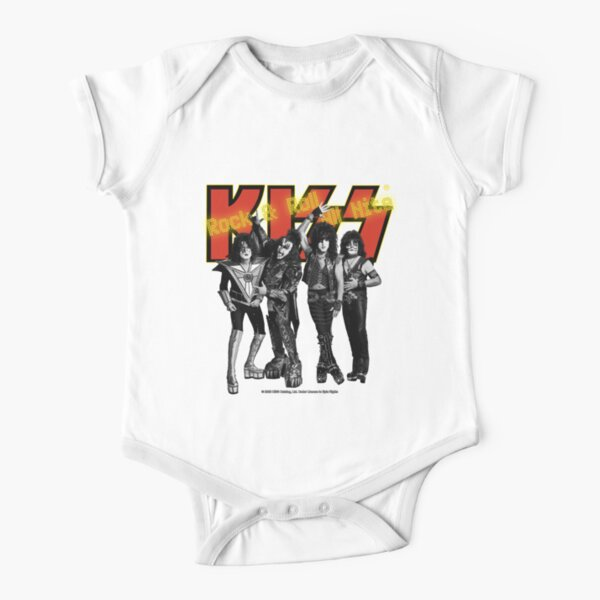 KISS - Rock & Roll All Nite - Full Up Yellow and Red Short Sleeve Baby One-Piece