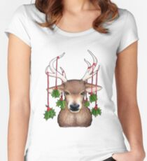 Stag with Holly Women's Fitted Scoop T-Shirt