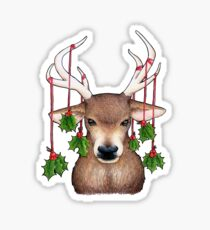Stag with Holly Sticker
