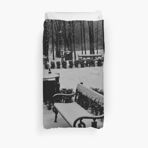 Beautiful Snow in the Park Duvet Cover