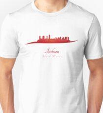 Incheon skyline in red T-Shirt