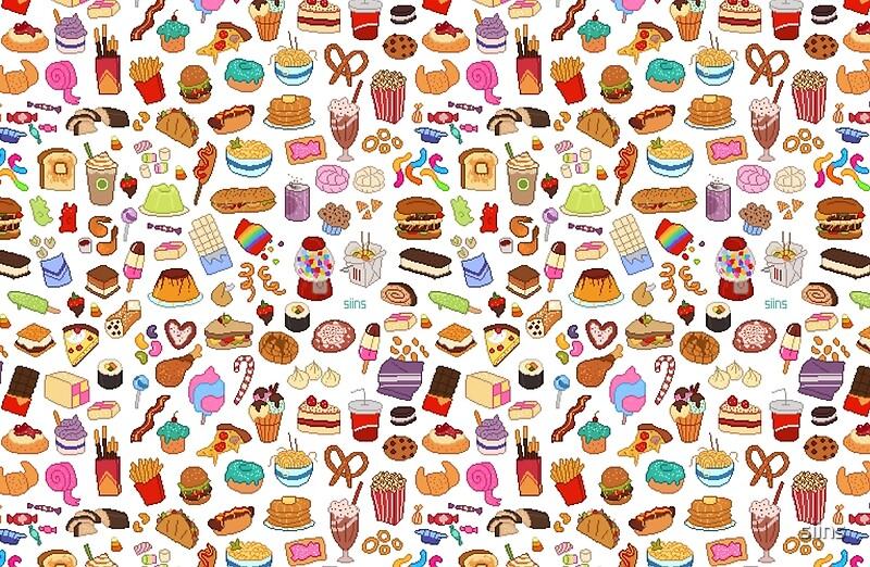 """""""Cute Pixel Junk Food"""" Laptop Skins by siins 
