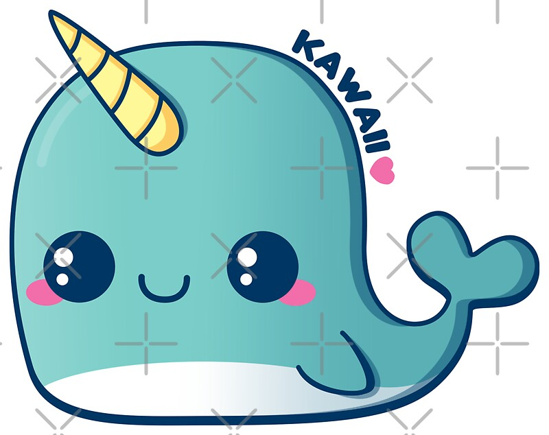 Kawaii Blue Narwhal Stickers By Pai thagoras Redbubble