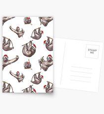 Christmas Sloths with Santa Hats Postcards