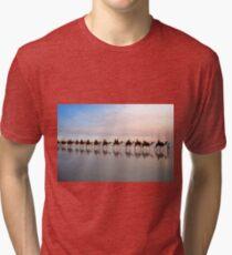 Camel Train at Dusk Tri-blend T-Shirt