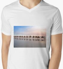 Camel Train at Dusk Men's V-Neck T-Shirt