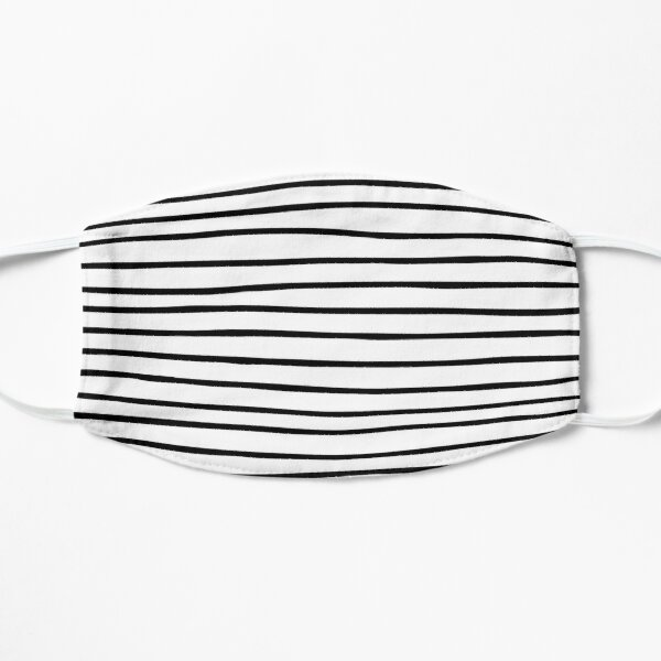 Modern simple trendy black white striped pattern Mask