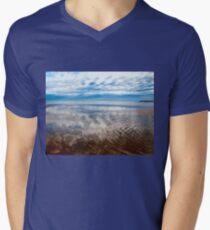 Cloud reflections at low tide Men's V-Neck T-Shirt