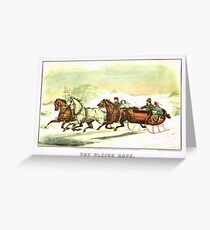 Currier & Ives The Sleigh Race Greeting Card